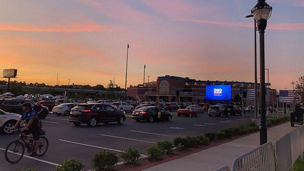PHOTO: Cars arrive for a drive-in watch party outside the Chase Center in Wilmington, Del, on the final night of the 2020 Democratic National Convention. (ABC News)