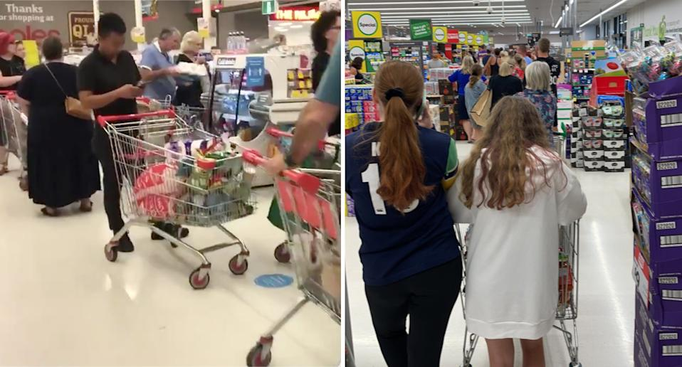People queuing inside Coles and Woolworths in Brisbane.