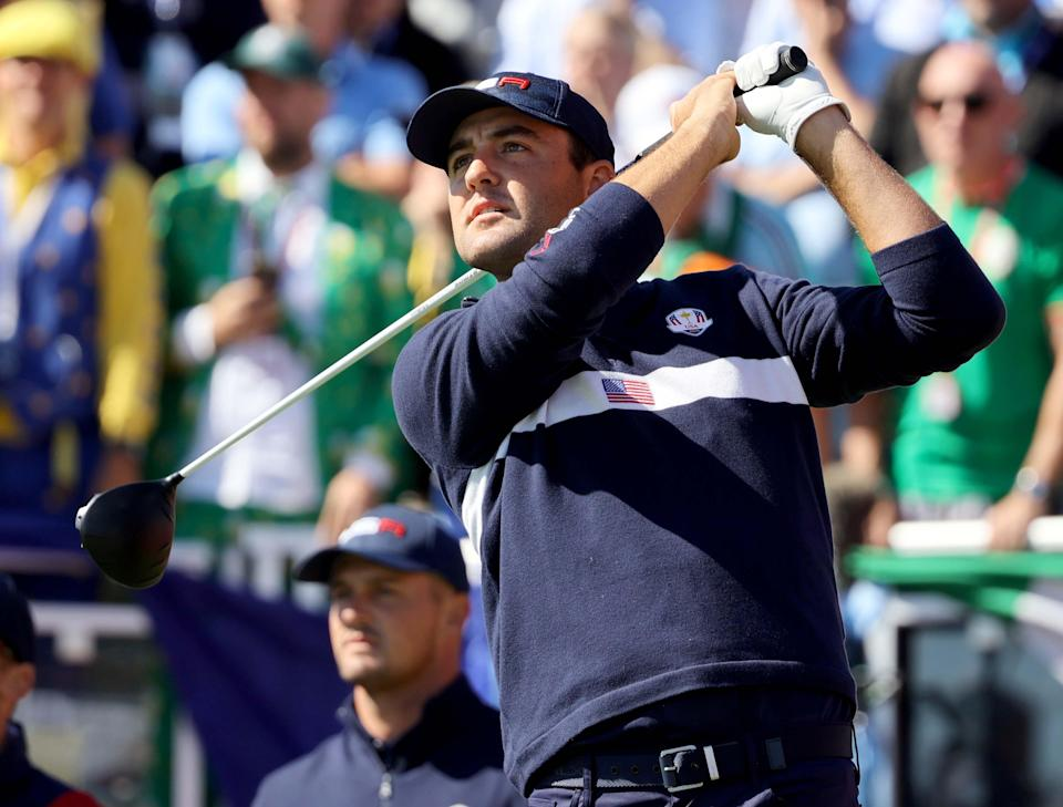 Scottie Scheffler tees off on the first hole during the 43rd Ryder Cup at Whistling Straits.