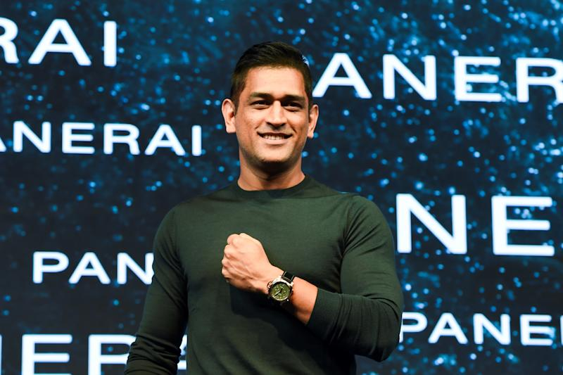 Indian cricketer Mahendra Singh Dhoni poses during the launch of his signature collection limited edition Panerai watches in Mumbai on November 27, 2019. (Photo by Indranil MUKHERJEE / AFP) (Photo by INDRANIL MUKHERJEE/AFP via Getty Images)