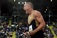 EUGENE, OR - JUNE 22: Trey Hardee reacts after competing in the shot put portion of the decathlon during Day One of the 2012 U.S. Olympic Track & Field Team Trials at Hayward Field on June 22, 2012 in Eugene, Oregon. (Photo by Christian Petersen/Getty Images)