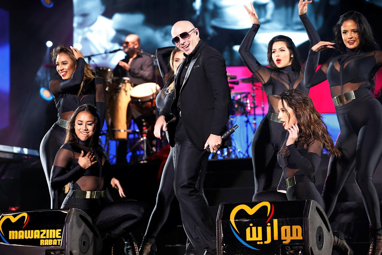 Rapper Pitbull performs during the 15th Mawazine World Rhythms International Music Festival in Rabat, Morocco May 27, 2016. REUTERS/Youssef Boudlal
