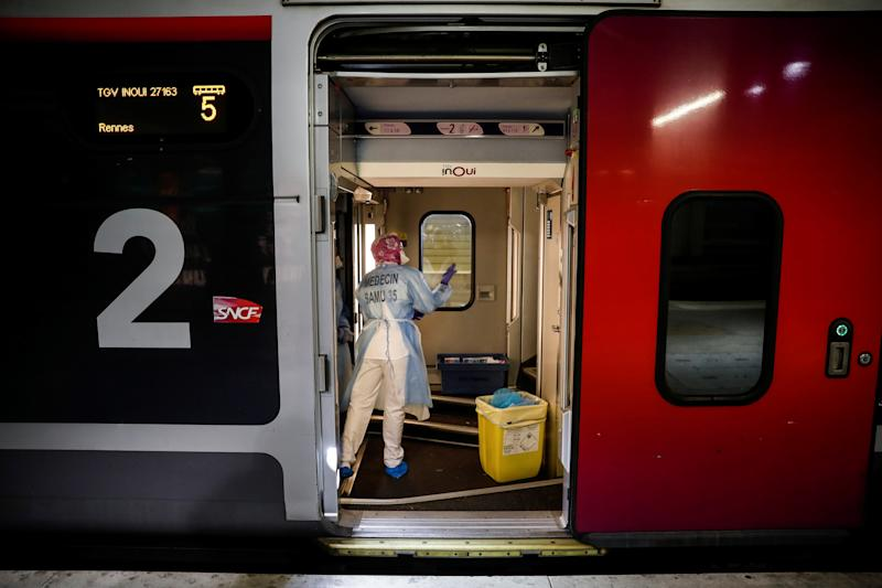 Patients are being moved out of Paris to less overwhelmed areas by train. (Thomas Samson/Pool via REUTERS)