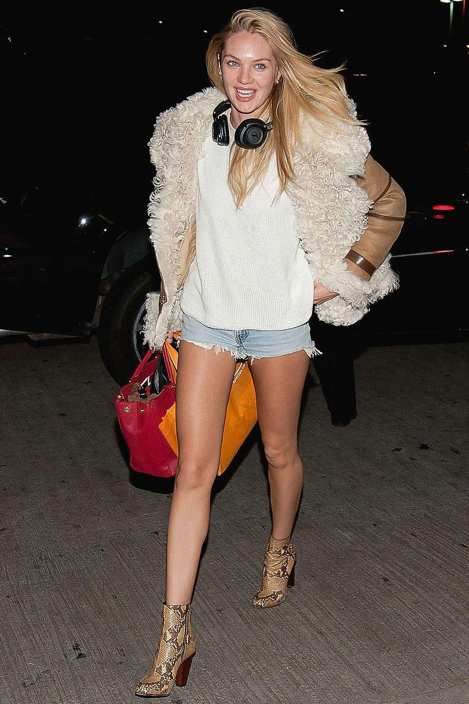 <p><strong>Candice Swanepoel, 2012: </strong>Shearling and short shorts. If she's trying to confuse us about where she's heading, it's working. </p>