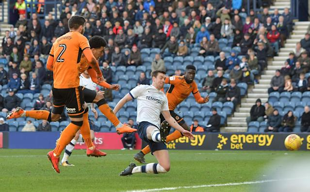 "Soccer Football - Championship - Preston North End vs Wolverhampton Wanderers - Deepdale, Preston, Britain - February 17, 2018 Wolverhampton Wanderers' Helder Costa scores their first goal Action Images/Paul Burrows EDITORIAL USE ONLY. No use with unauthorized audio, video, data, fixture lists, club/league logos or ""live"" services. Online in-match use limited to 75 images, no video emulation. No use in betting, games or single club/league/player publications. Please contact your account representative for further details."