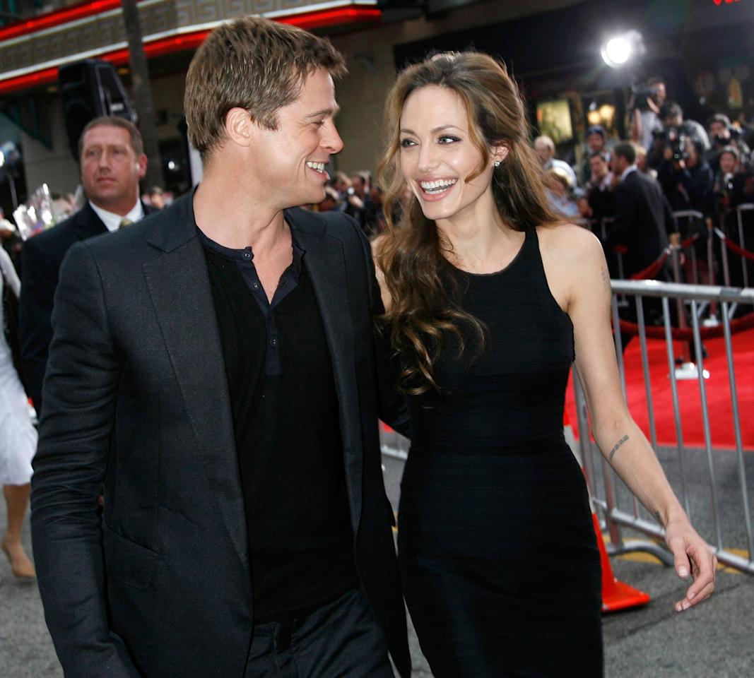 <p>Angelina Jolie and Brad Pitt arrive to the Warner Bros premiere of the film Ocean's 13 at Grauman's Chinese Theatre on June 5, 2007 in Hollywood. Source: Getty </p>