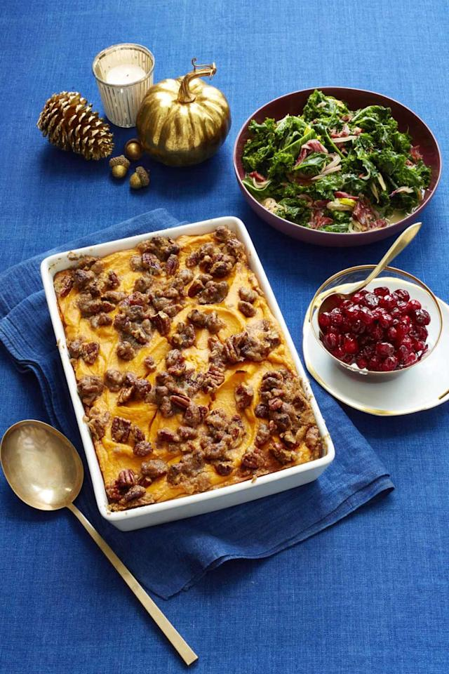 """<p>Stick to the basics with this traditional and easy recipe. </p><p><strong><a rel=""""nofollow"""" href=""""http://www.womansday.com/food-recipes/food-drinks/recipes/a56472/sweet-potato-casserole-with-brown-sugared-pecans-recipe/"""">Get the recipe. </a></strong></p><p><strong>Tools you'll need:</strong><em><strong> </strong>$15, Pyrex Glass Baking Dish Set of 2, </em><a rel=""""nofollow"""" href=""""https://www.amazon.com/Pyrex-Basics-Oblong-Baking-Dishes/dp/B00N1BYMLS/?tag=syndication-20""""><em>amazon.com</em></a> <span></span><br></p>"""
