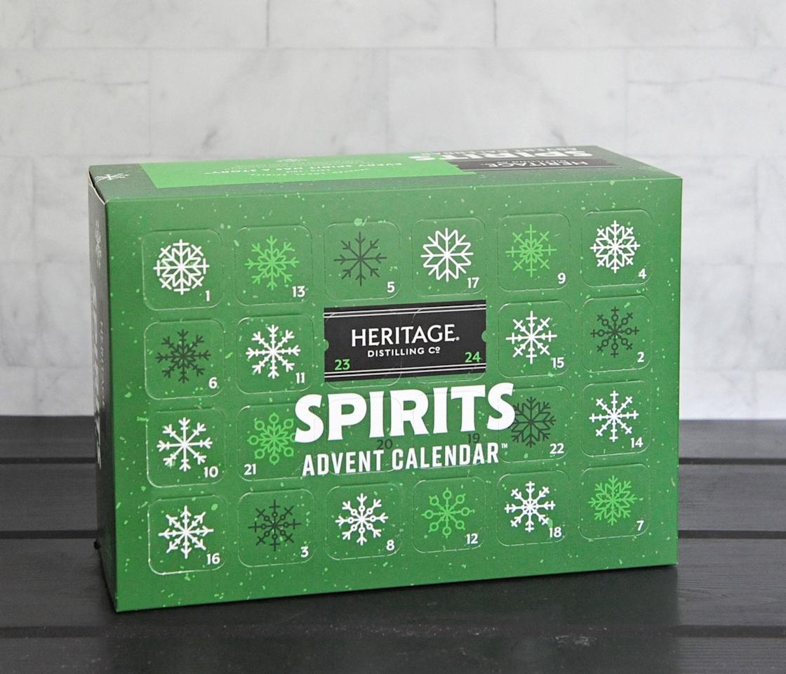 "<p>If you require something a little stronger than beer or wine to take the edge off, consider the <a href=""https://www.popsugar.com/buy/Heritage-Distilling-Co-Spirits-Advent-Calendar-519320?p_name=Heritage%20Distilling%20Co.%20Spirits%20Advent%20Calendar&retailer=heritagedistilling.com&pid=519320&price=49&evar1=yum%3Aus&evar9=44097279&evar98=https%3A%2F%2Fwww.popsugar.com%2Fphoto-gallery%2F44097279%2Fimage%2F44097318%2FHeritage-Distilling-Co-Spirits-Advent-Calendar&list1=holiday%2Calcohol%2Cchristmas%2Cfood%20shopping%2Choliday%20food&prop13=api&pdata=1"" rel=""nofollow"" data-shoppable-link=""1"" target=""_blank"" class=""ga-track"" data-ga-category=""Related"" data-ga-label=""https://heritagedistilling.com/products/spiritsadventcalendar"" data-ga-action=""In-Line Links"">Heritage Distilling Co. Spirits Advent Calendar</a> ($49). The Advent calendar from the Washington distillery contains 24 mini bottles (50 milliliters each) of Heritage Distilling's spirits, like Brown Sugar Bourbon, Elk Rider Crisp Gin, and fun additions we wouldn't mind mixing into a batch of <a href=""https://www.popsugar.com/food/Best-Christmas-Cocktails-45503078"" class=""ga-track"" data-ga-category=""Related"" data-ga-label=""https://www.popsugar.com/food/Best-Christmas-Cocktails-45503078"" data-ga-action=""In-Line Links"">holiday cocktails</a>, like coffee- and vanilla-flavored vodka.</p>"