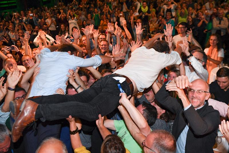 The biggest winners were the Greens, who crowdsurfed in joy after becoming Bavaria's strongest party (AFP Photo/Sven Hoppe)