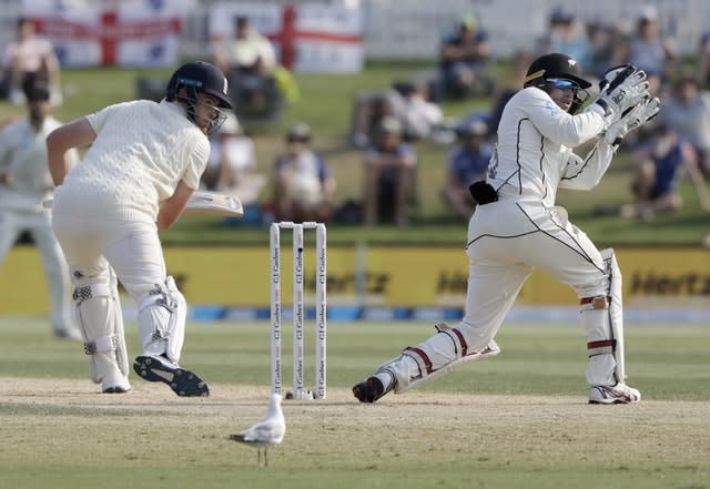 Tom Latham took over the gloves from Watling after his mammoth innings (Mark Baker/AP)