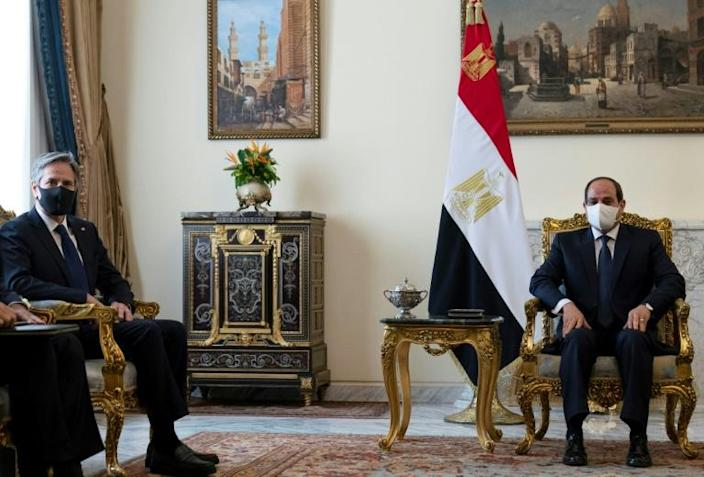 US Secretary of State Antony Blinken flew to Egypt -- which helped broker the Israel-Gaza ceasefire -- to meet Wednesday with President Abdel Fattah al-Sisi
