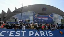 PSG fans gathered in large numbers outside the Parc des Princes hoping to catch a glimpse of Messi