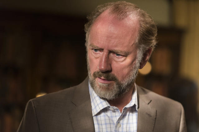 <p>Gregory might be forgiven for being a run of the mill weasel, but it's the aggressive manner in which he pursues weaseldom that makes him a villain. To wit: swiping Glenn's pocket watch (the one gifted to him by Hershel) from his dead body; trying to give up the hiding Maggie and Sasha to Simon; considering killing Maggie, even though he's too wimpy to even stab a walker… we could go on, but suffice it to say that Gregory operates completely from a place of fear, which does not a good leader make. Good weasel? Check.<br>(Photo: AMC) </p>