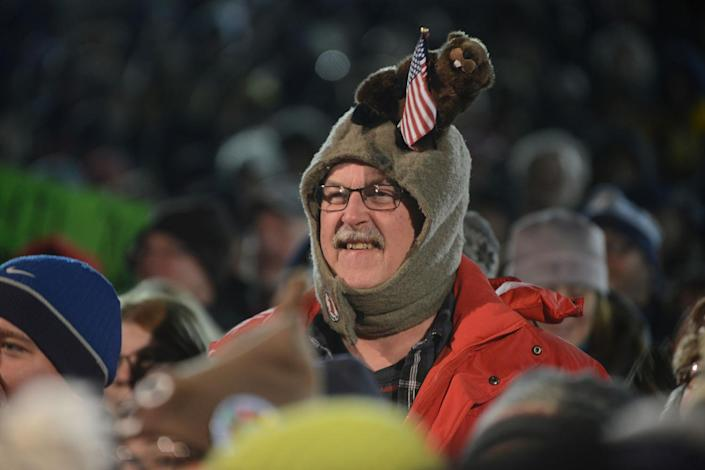 <p>Al Donst Jr. of Belvidere, N.J., wears a groundhog hat during his annual trek to Gobbler's Knob on the 131st Groundhog Day in Punxsutawney, Pa, Feb. 2, 2017. (REUTERS/Alan Freed) </p>
