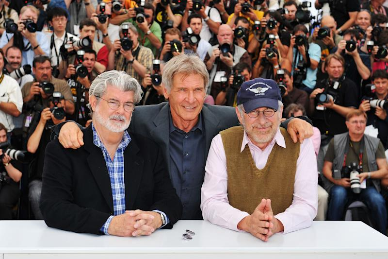 CANNES, FRANCE - MAY 18: (L-R) Director/producer George Lucas, actor Harrison Ford and Director Steven Spielberg pose at the Indiana Jones and The Kingdom of The Crystal Skull - photocall at the Palais des Festivals during the 61st International Cannes Film Festival on May 18 , 2008 in Cannes, France. (Photo by Pascal Le Segretain/Getty Images)