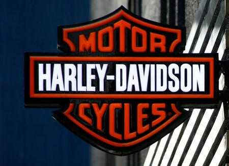 FILE PHOTO: American motorcycle manufacturer Harley-Davidson's signboard is pictured at its branch in Tokyo, Japan August 13, 2018. REUTERS/Kim Kyung-Hoon/File Photo