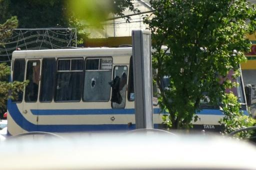 The bus on which 13 hostages were taken by and armed man in Lutsk, Ukraine