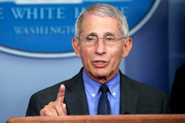 FILE - In this April 7, 2020, file photo, Dr. Anthony Fauci, director of the National Institute of Allergy and Infectious Diseases, speaks about the coronavirus in Washington. With New York City at the epicenter of the coronavirus outbreak in the U.S. and its native-born among those offering crucial information to the nation in televised briefings, the New York accent has stepped up to the mic. Fauci's science-based way of explaining the crisis at White House briefings has attracted untold numbers of fans, and New York Gov. Andrew Cuomo's news conferences have become must-see TV. (AP Photo/Alex Brandon, File)