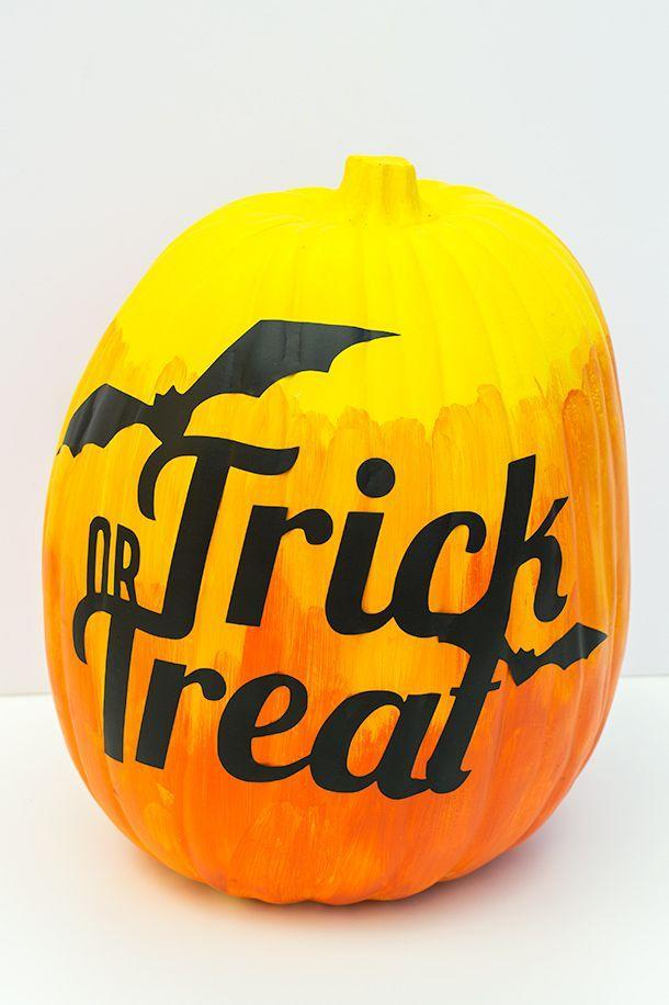 "<p>Instead of just choosing one color, paint your pumpkin with three different shades. Then finish it off with a Halloween sticker for a look that's way easier than carving.</p><p><em><a href=""http://sarahhearts.com/2013-10-07/trick-treat-pumpkin/"" rel=""nofollow noopener"" target=""_blank"" data-ylk=""slk:Get the tutorial at Sarah Hearts »"" class=""link rapid-noclick-resp"">Get the tutorial at Sarah Hearts »</a></em></p>"
