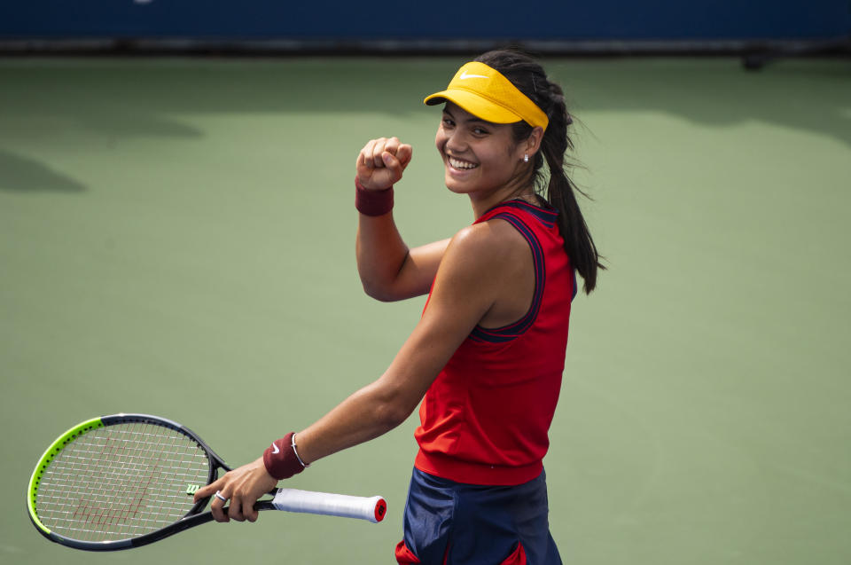 Pictured here, Britain's Emma Raducanu celebrates her first round win at the US Open.