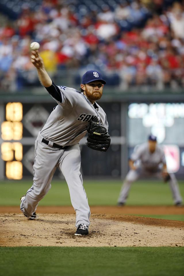 San Diego Padres' Ian Kennedy pitches during the third inning of a baseball game against the Philadelphia Phillies, Tuesday, June 10, 2014, in Philadelphia. (AP Photo/Matt Slocum)