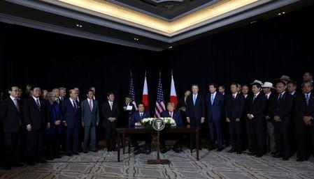 U.S. President Trump and Japan's Prime Minister Abe meet in New York City, New York