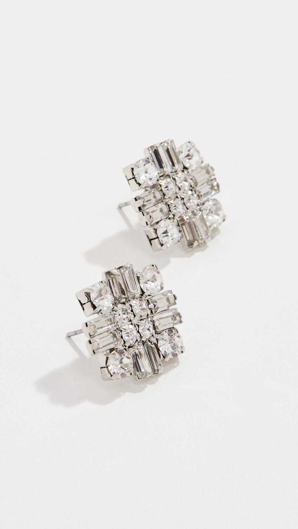 """<p><strong>Stella + Ruby</strong></p><p>shopbop.com</p><p><strong>$40.00</strong></p><p><a href=""""https://go.redirectingat.com?id=74968X1596630&url=https%3A%2F%2Fwww.shopbop.com%2Fstatement-crystal-earrings-stella-ruby%2Fvp%2Fv%3D1%2F1556506098.htm&sref=https%3A%2F%2Fwww.goodhousekeeping.com%2Fbeauty%2Ffashion%2Fg28110225%2Fcute-80s-outfits%2F"""" rel=""""nofollow noopener"""" target=""""_blank"""" data-ylk=""""slk:Shop Now"""" class=""""link rapid-noclick-resp"""">Shop Now</a></p><p>Remember the <a href=""""https://www.youtube.com/watch?v=vjVfu8-Wp6s"""" rel=""""nofollow noopener"""" target=""""_blank"""" data-ylk=""""slk:White Diamonds commercial"""" class=""""link rapid-noclick-resp"""">White Diamonds commercial </a>where Elizabeth Taylor takes her earrings off and says, """"These have always brought me luck?"""" These are definitely channeling that vibe. </p>"""