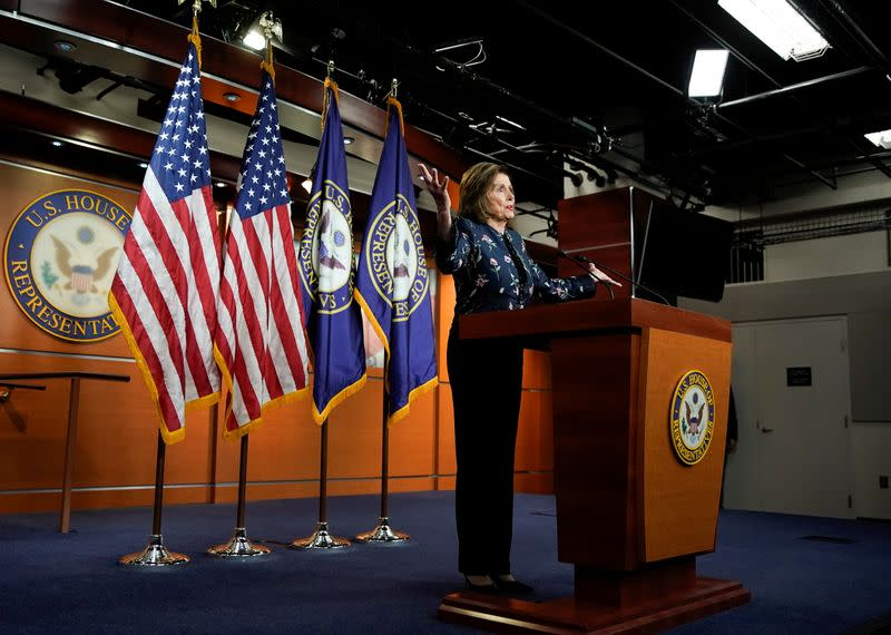 U.S. House Speaker Nancy Pelosi holds weekly news conference with Capitol Hill reporters in Washington