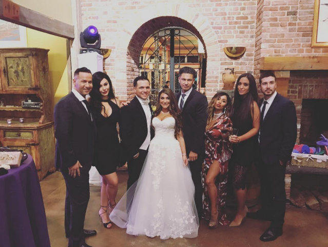 "<p>The <em>Jersey Shore</em> crew reunited again in the Garden State, this time for castmate Deena Cortese's nuptials to Christopher Buckner. ""Crew back together for Deena's Wedding!"" Snooki captioned the group shot, which included Jenni ""JWoww"" Farley, Vinny Guadagnino, Paul ""Pauly D"" DelVecchio, Mike ""the Situation"" Sorrentino, and Sammi Giancola. Noticeably missing was Sam's ex, Ronnie Ortiz-Magro, who was said to be out of town. (Photo: <a href=""https://www.instagram.com/p/Ba0DN5Zl5r0/?taken-by=snooki"" rel=""nofollow noopener"" target=""_blank"" data-ylk=""slk:Snooki via Instagram"" class=""link rapid-noclick-resp"">Snooki via Instagram</a>) </p>"