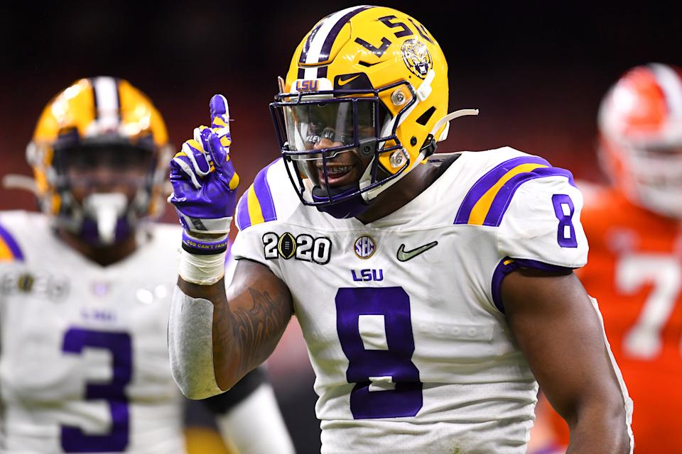 LSU's Patrick Queen projects to be the type of second-level linebacker that's become integral to stopping NFL offenses. (Photo by Jamie Schwaberow/Getty Images)