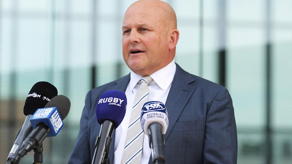 Rob Clarke, pictured here at a Rugby Australia press conference in Sydney.