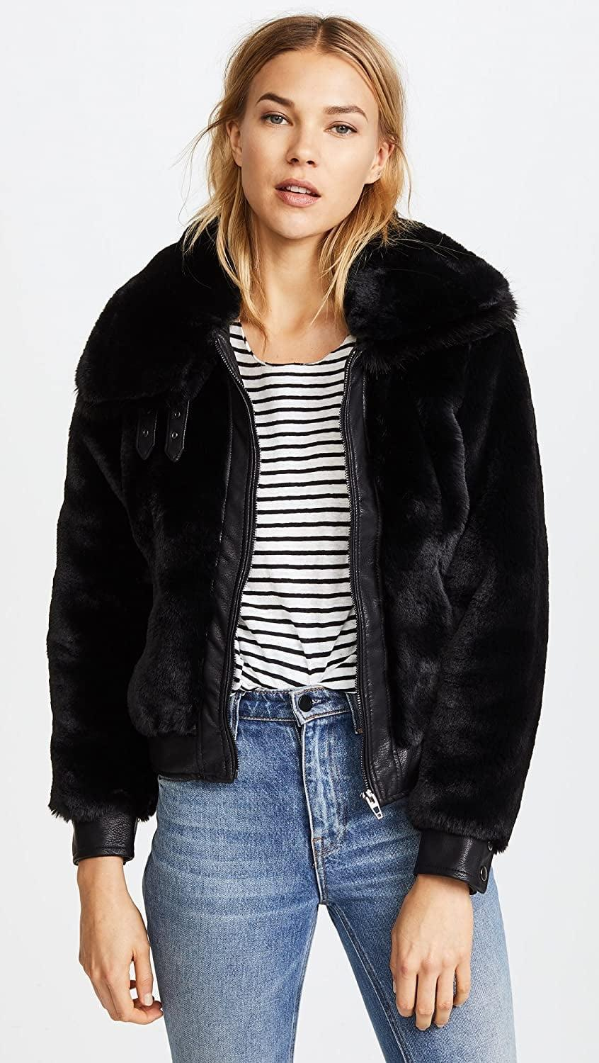 <p>This <span>BlankNYC Blank Denim Black Noise Coat</span> ($148) looks so soft.</p>