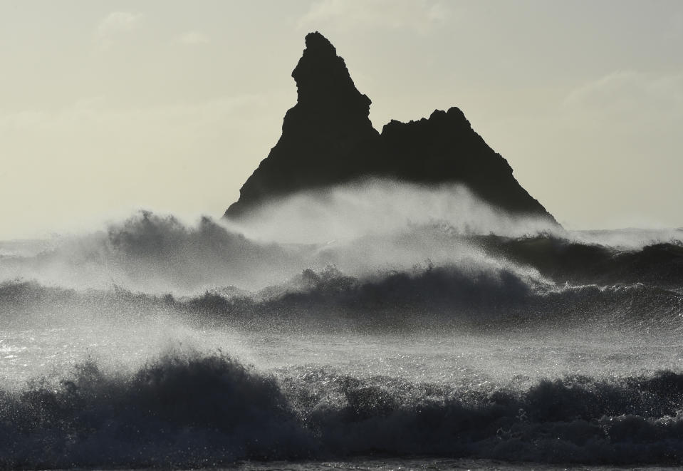 Gale force winds blow back the waves at Church Rock on Broad Haven Beach in Pembrokeshire, Wales, Britain, February 23, 2017. REUTERS/Rebecca Naden