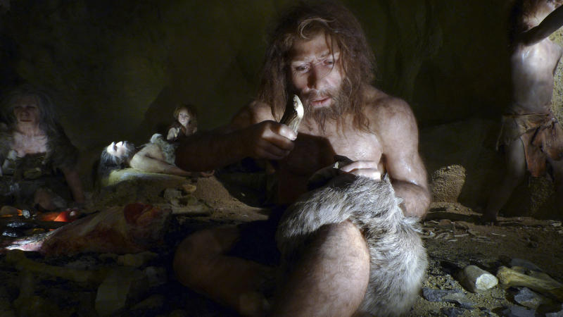 An exhibit shows the life of a neanderthal family in a cave in the new Neanderthal Museum in the northern town of Krapina February 25, 2010. The high-tech, multimedia museum, with exhibitions depicting the evolution from 'Big Bang' to present day, opens on February 27. REUTERS/Nikola Solic (CROATIA - Tags: SOCIETY)