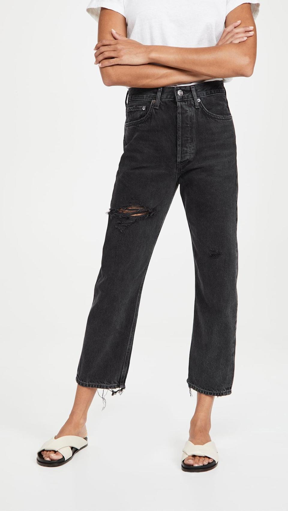 <p>If you haven't tried AGOLDE jeans yet, you're missing out. Our current favorite pair is the <span> 90's Crop Mid Rise Loose Straight Jeans</span> ($198).</p>