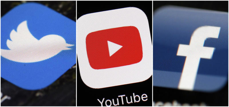 This combination of images shows logos for companies from left, Twitter, YouTube and Facebook. These Internet companies and others say they're working to remove video footage filmed by a gunman in the New Zealand mosque shooting that was widely available on social media hours after the horrific attack. (AP Photos/File)
