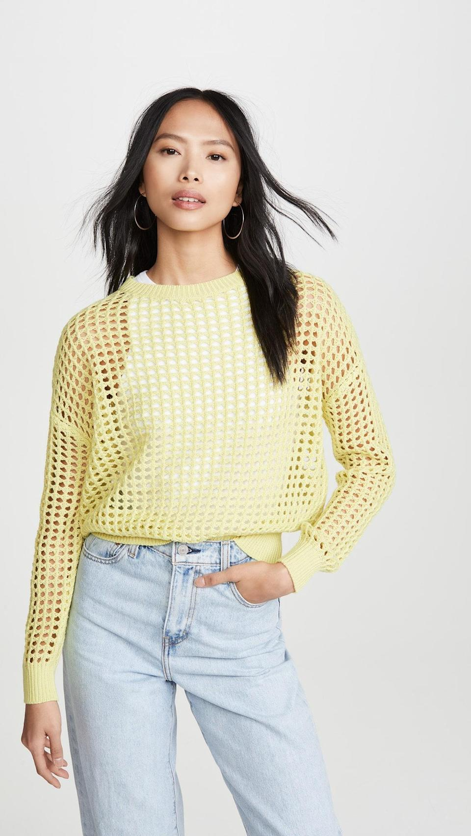 """Crochet sweaters don't exactly scream """"cold weather,"""" but when you're at home most of the time, who cares? $42, Amazon. <a href=""""https://www.amazon.com/DNA-Womens-Crochet-Sweater-Yellow/dp/B084N9SF6P?s=shopbop&ref_=sb_ts"""" rel=""""nofollow noopener"""" target=""""_blank"""" data-ylk=""""slk:Get it now!"""" class=""""link rapid-noclick-resp"""">Get it now!</a>"""