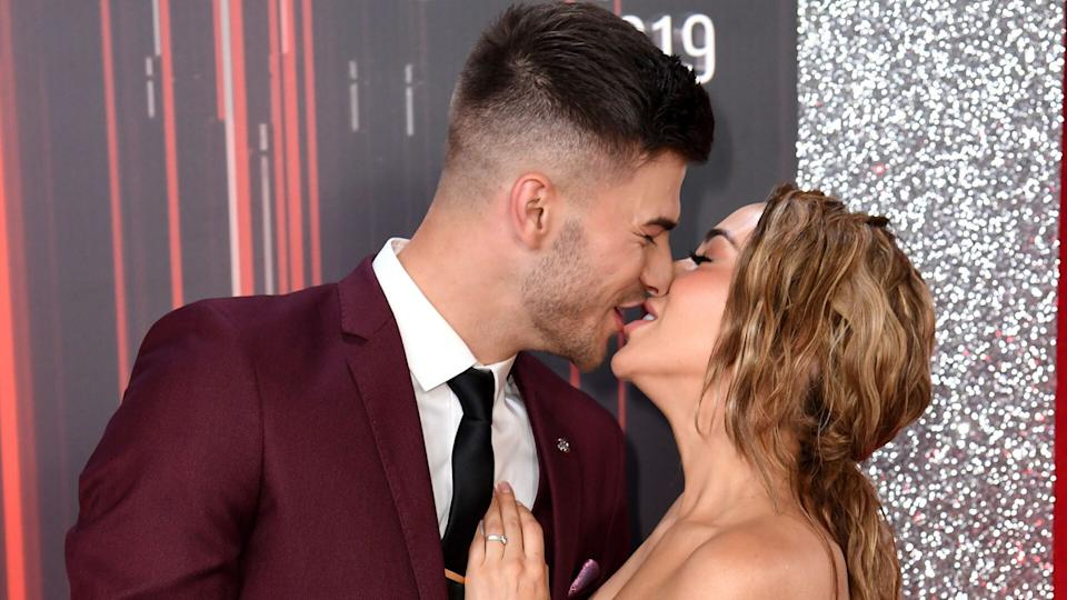 Owen Warner and Stephanie Davis attending the British Soap Awards 2019 held at The Lowry, Manchester (Credit: PA)