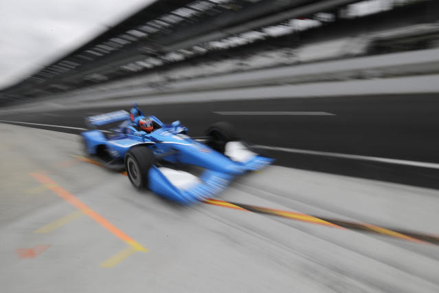 Felix Rosenqvist, of Sweden, pulls into the pits during practice for the Indy GP IndyCar auto race at Indianapolis Motor Speedway, Friday, May 10, 2019 in Indianapolis. (AP Photo/Darron Cummings)