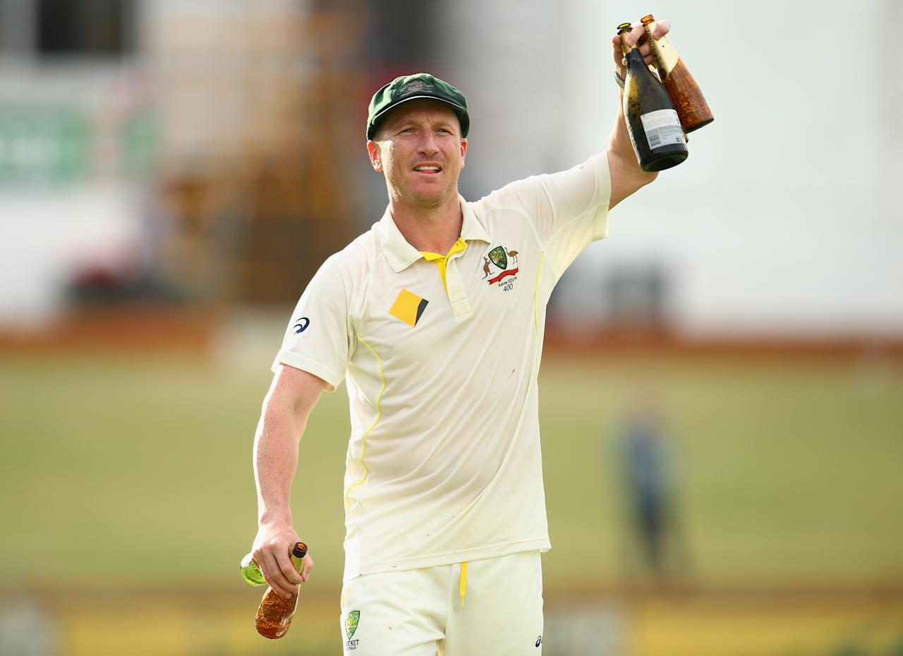 PERTH, AUSTRALIA - DECEMBER 17:  Brad Haddin of Australia celebrates on the pitch after day five of the Third Ashes Test Match between Australia and England at WACA on December 17, 2013 in Perth, Australia.  (Photo by Ryan Pierse/Getty Images)