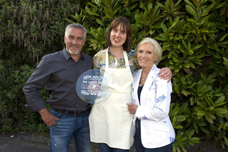 Old times: Great British Bake Off Winner Frances Quinn (centre) with Paul Hollywood and Berry in 2013 (BBC)
