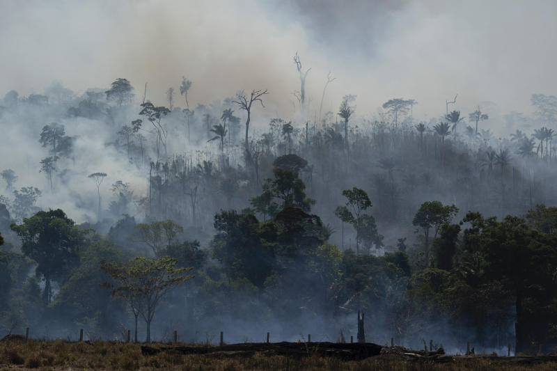 Fire consumes the Amazon rainforest in Altamira, Brazil, Tuesday, Aug. 27, 2019. Fires across the Brazilian Amazon have sparked an international outcry for preservation of the world's largest rainforest. (AP Photo/Leo Correa)