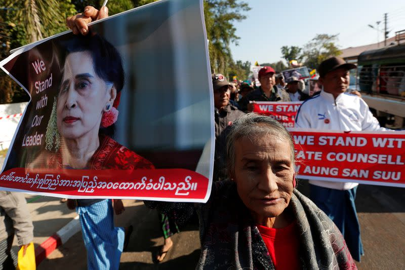 People gather to rally in support of Myanmar State Counsellor Aung San Suu Kyi in Bago