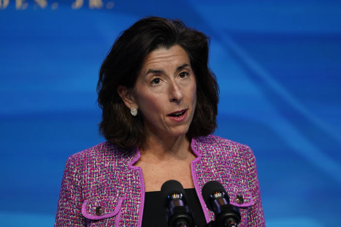 President-elect Joe Biden's nominee for Secretary of Commerce, Rhode Island Gov. Gina Raimondo speaks during an event at The Queen theater in Wilmington, Del., Friday, Jan. 8, 2021. (AP Photo/Susan Walsh)