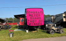 Race fans decorated their camp site at Mid-Ohio Sports Car Course to congratulate local IndyCar owner Michael Shank on winning the Indianapolis 500, Saturday, July 3, 2021 in Lexington, Ohio. Shank's team is based 50 miles away from the race track in Pataskala and considers Mid-Ohio his home track. Mid-Ohio is hosting IndyCar on the Fourth of July for the first time in track history. (AP Photo/Jenna Fryer)