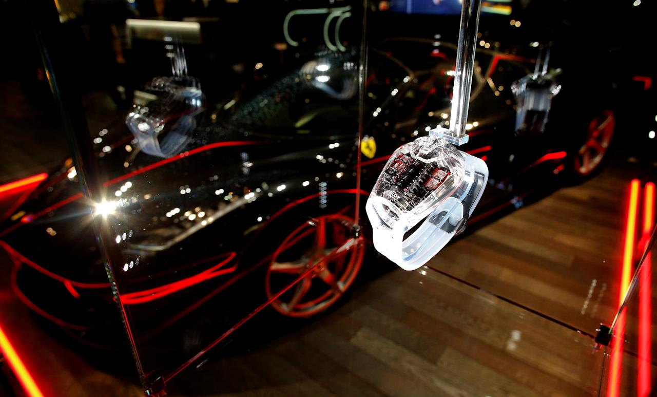A Hublot MP-05 LaFerrari Sapphire watch is displayed at the Baselworld watch and jewellery fair in Basell, Switzerland March 23, 2017.    REUTERS/Arnd Wiegmann