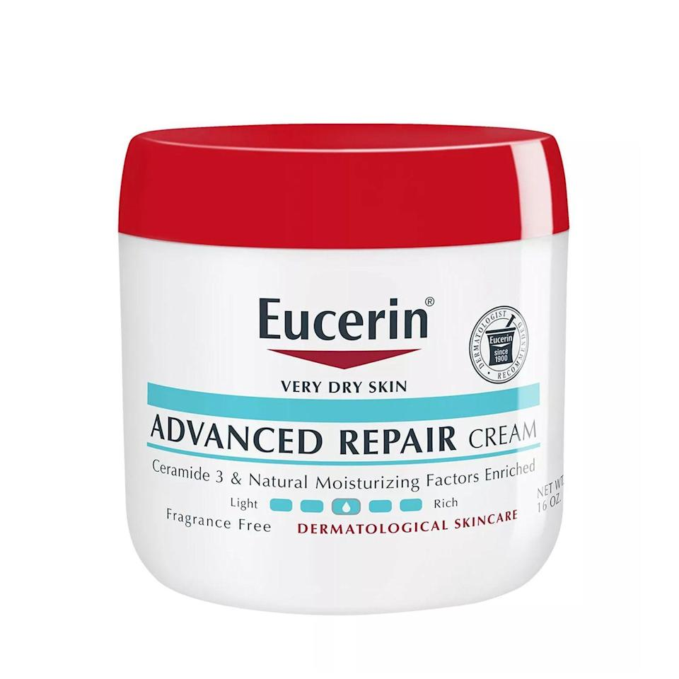 """<p><strong>Eucerin</strong></p><p>amazon.com</p><p><strong>$13.99</strong></p><p><a href=""""http://www.amazon.com/dp/B01GGM5GC2?tag=syn-yahoo-20&ascsubtag=%5Bartid%7C2089.g.34924076%5Bsrc%7Cyahoo-us"""" rel=""""nofollow noopener"""" target=""""_blank"""" data-ylk=""""slk:Shop Now"""" class=""""link rapid-noclick-resp"""">Shop Now</a></p><p>While this is technically intended to be used on your body, Eucerin's fan-favorite, nongreasy Advanced Repair Cream caters to rough, cracked, and dry skin in all forms. Featuring a rich blend of ceramides and designed to deliver over 48 hours of uninterrupted moisture, your sad winter feet won't know what hit them.</p>"""
