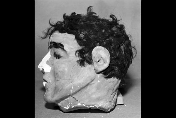 The inmates crafted dummy heads out of plaster and real hair to fool the guards on the night of the infamous escape. This photo is a profile view of Frank Morris's fake head.