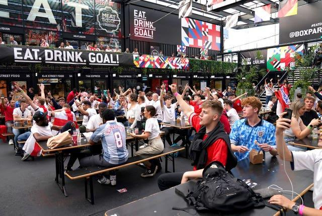 Fans at BOXPARK in Croydon for the Euro 2020 semi-final between England and Denmark