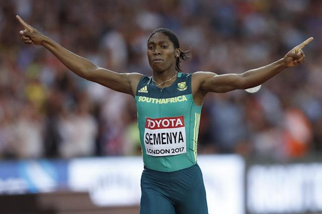 South Africa's Caster Semenya, who won the women's 800m race at the world championships in London, claiming her third world title, has been dogged by accusations that she took testosterone suppressing medication (AFP Photo/Adrian DENNIS)